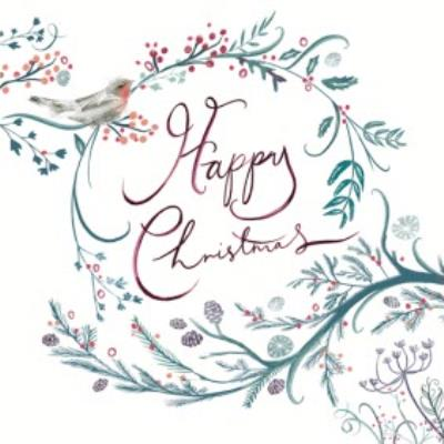 Robin Branches And Swirls Personalised Happy Christmas Card