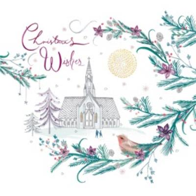 Country Church Scene Personalised Christmas Card