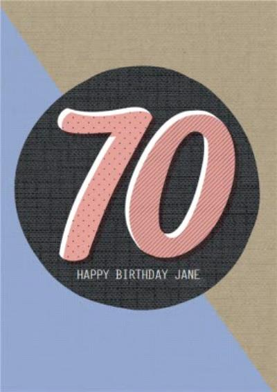 Personalised Text 70Th Birthday Card