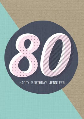 Personalised Text 80Th Birthday Card
