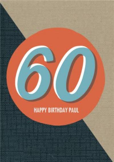 Personalised Text 60Th Happy Birthday Card