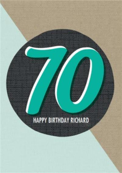 Personalised Text 70Th Happy Birthday Card