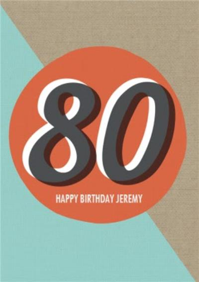 Personalised Text 80Th Happy Birthday Card