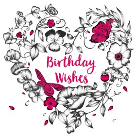 Big Flower Heart Birthday Wishes Card