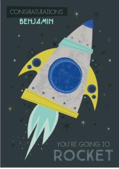 Congratulations card - good luck - new job - rocket - space