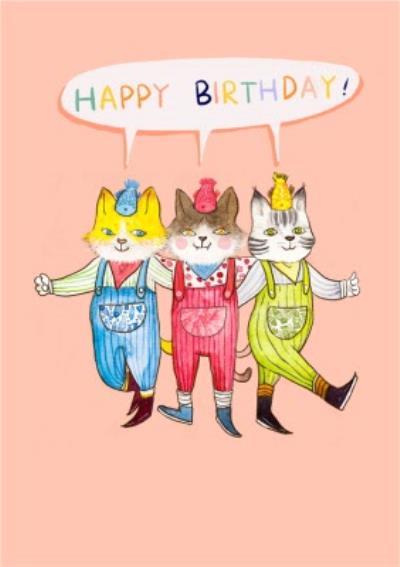 Illustrated Cute Cat Birthday Card