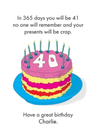 Objectables In 365 Days You will be 41 Funny Birthday Card