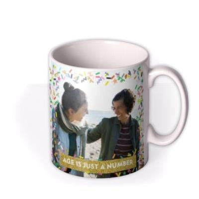 Neon Confetti And Metallic Gold Banner Photo Mug