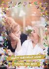 Colourful Confetti Photo And Personalised Text Card
