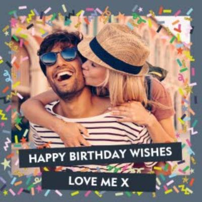 Colourful Confetti Photo And Personalised Text Square Card