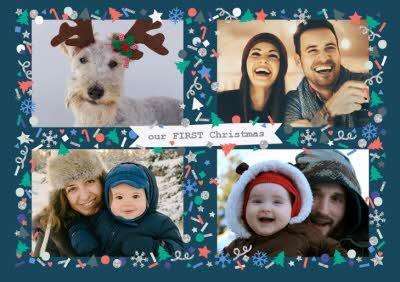 Oh Cheers! 4-Photo Upload Horizontal Christmas Card