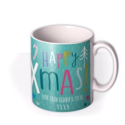 Merry Christmas Green Couples Photo Upload Mug