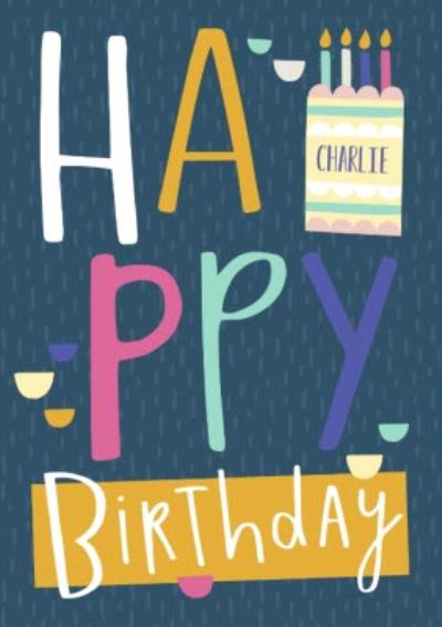 Big Colourful Letters Personalised Happy Birthday Card