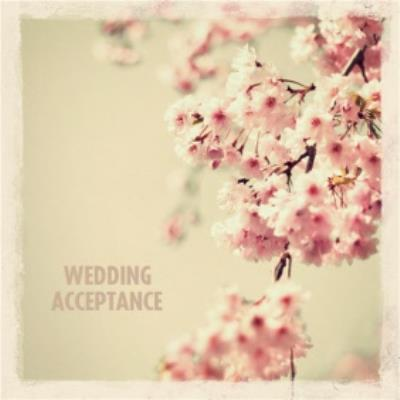 Cherry Blossoms Wedding Acceptance Card