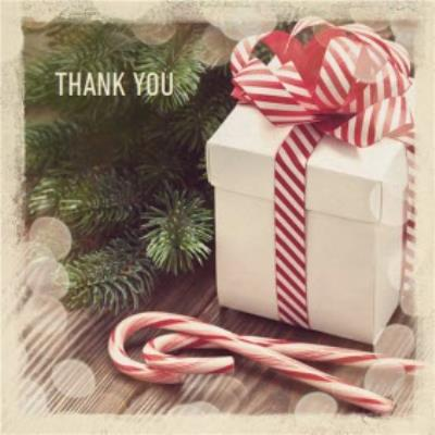 Present And Candy Canes Personalised Christmas Thank You Card