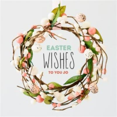 Easter Wishes Card - Easter Eggs - Easter Wreath
