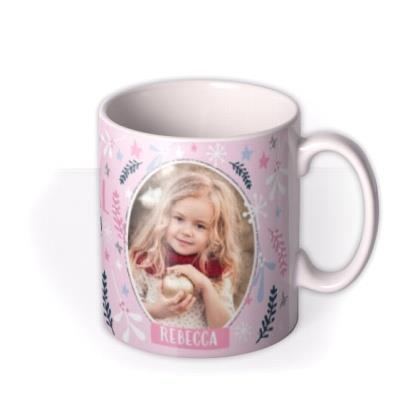 Christmas Pink Magical Unicorn Photo Upload Mug