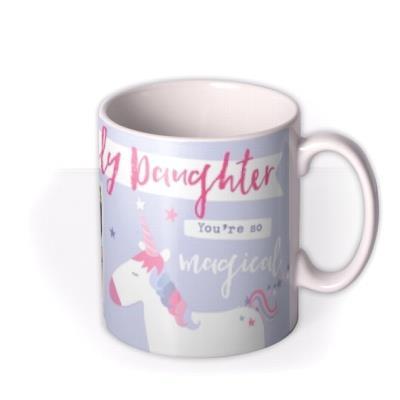 Lovely Daughter Unicorn And Rainbow Magical Photo Upload Birthday Mug