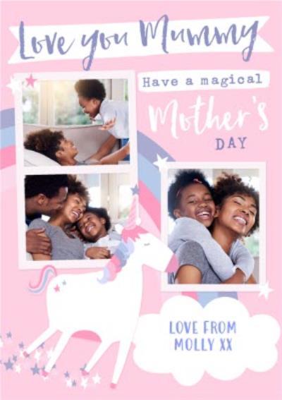 Love You Mummy Unicorn Photo Upload Mother's Day Card