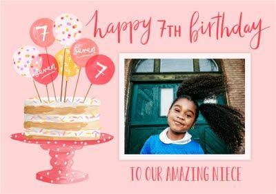 Okey Dokey Illustrated Birthday Cake And Balloons Niece Photo Upload 7th Birthday Card