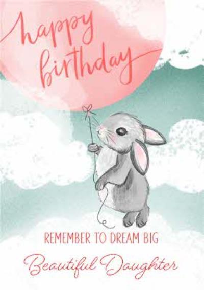 Okey Dokey Cute Illustrated Rabbit Beautiful Daughter Birthday Card