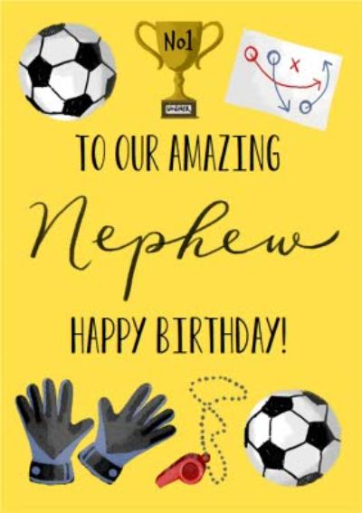Okey Dokey Illustrated Sport Football Amazing Nephew Birthday Card