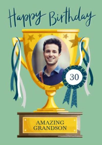 Amazing Grandson Trophy Photo Upload Birthday Card