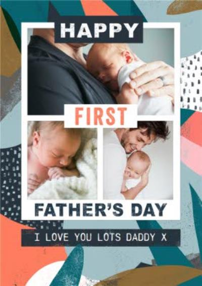 Bright Colourful Patterns Happy First Father's Day Multi-Photo Card