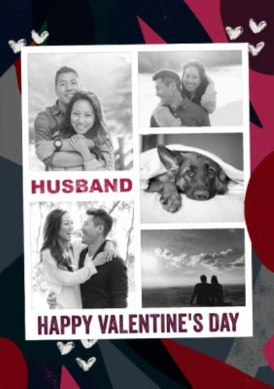 Graphic Tropical Husband Photo Upload Valentine's Day Card
