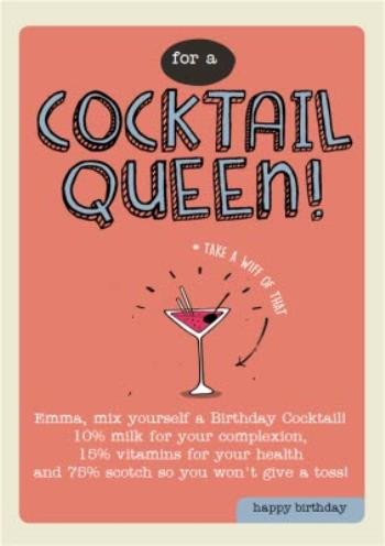 For A Cocktail Queen Personalised Happy Birthday Card Moonpig
