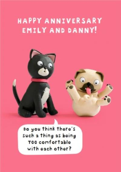 Cat And Dog Funny Caption Personalised Happy Anniversary Card
