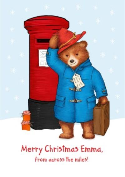 Paddington Bear Across The Miles Personalised Christmas Card