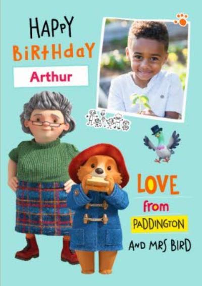Paddington Bear Mrs Bird Photo Upload Birthday Card