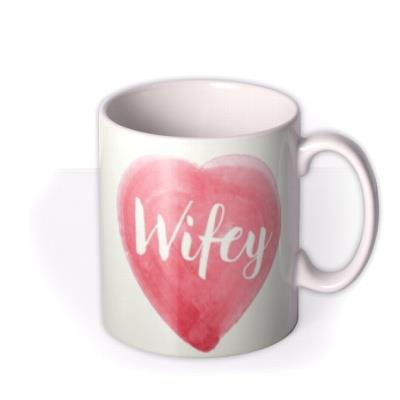 Anniversary Wifey Watercolour Heart Personalised Mug