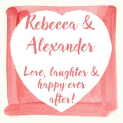 Watercolour Heart Happy Ever After Wedding Card