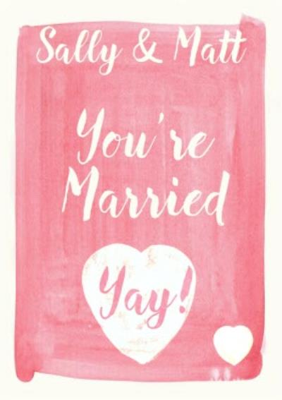Pink And White Yay! You're Married Personalised Wedding Card