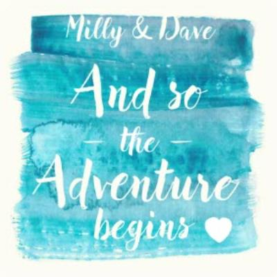 And So The Adventure Begins Personalised Wedding Day Card