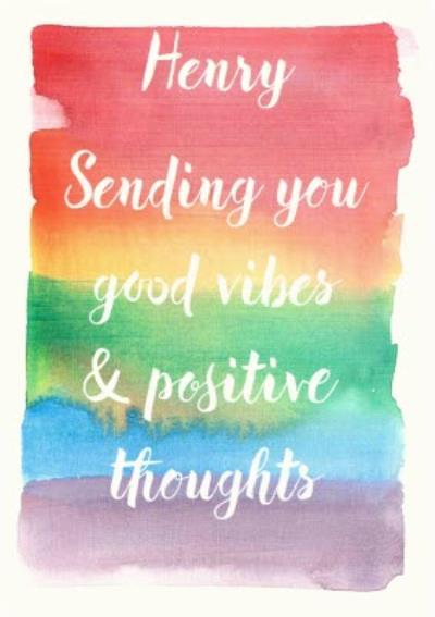 Rainbow Paintbrush Strokes Good Vibes Personalised Postcard