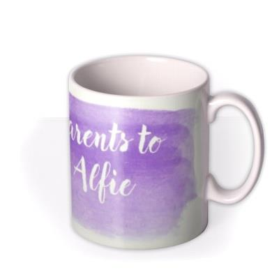 New Baby Proud Parents Purple Personalised Mug