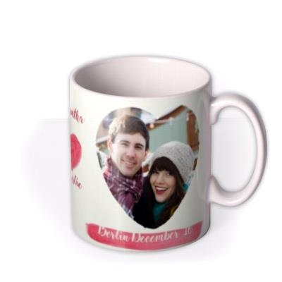 Valentine's Day Watercolour Hearts Photo Upload Mug