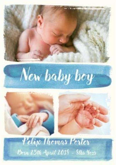 Paint A Picture New Baby Boy Photo Upload Card