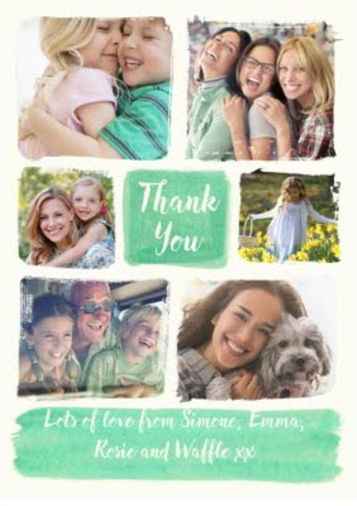 Photo upload card - thank you card - watercolour
