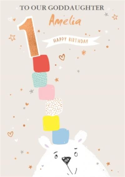 Cute 1 Today Goddaughter Birthday Card