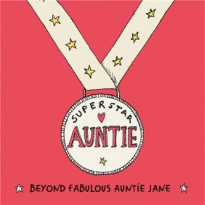 Award Medal Superstar Auntie Beyond Fabulous Birthday Card