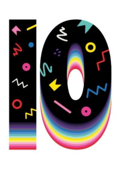 Retro Design Tenth Birthday Card