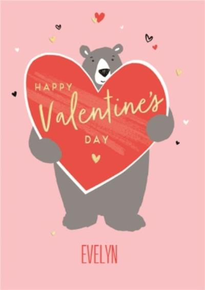 Personalised Cartoon Bear Happy Valentines Day Card