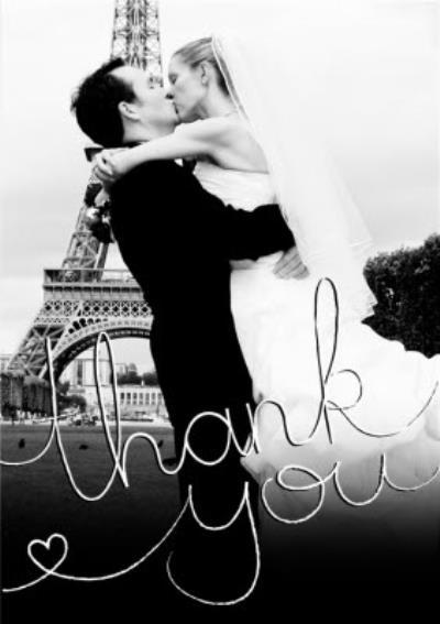 Romantic Photo Upload Wedding Thank You Card
