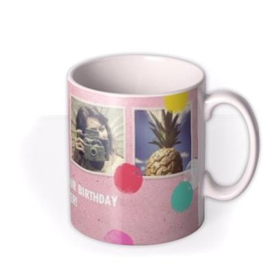 Happy Birthday Daughter Dots Photo Upload Mug