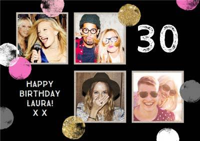 30th Birthday Metallic Polka Dot Photo Upload Card