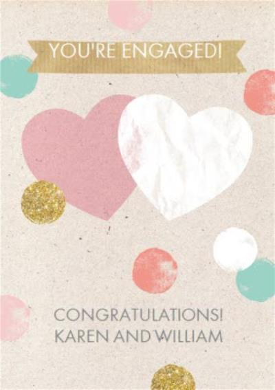 Pastel And Glitter Spots And Hearts Personalised Engagement Card